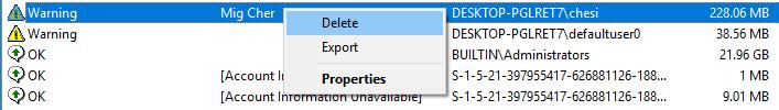 delete item