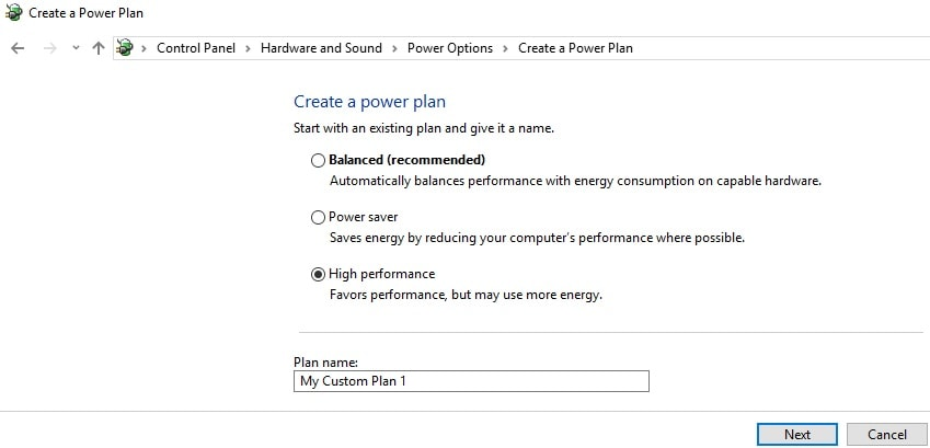 create a power plan