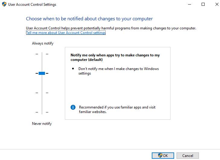 User Account Control Settings